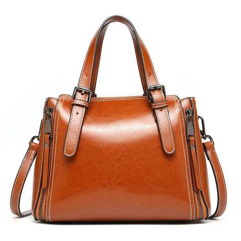 d7b0dd1b6a40 US 65.49 - Women Genuine Leather Retro Handbag Oli Wax Crossbody Bag ...