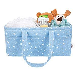 INMOZATA Baby Diaper Caddy Organizer Nursery Storage Bin and Car Portable Organizer with Adjustable Compartments for Newborn Registry Baby Diapers Toys Wipes Shower Gift Basket