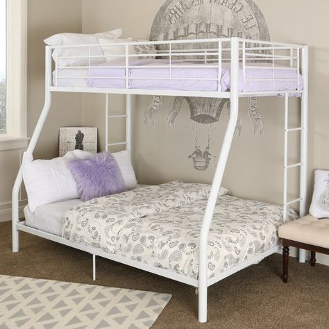 White Metal Twin Over Full Bunk Bed White Bunk Beds Bunk Beds Full Bunk Beds