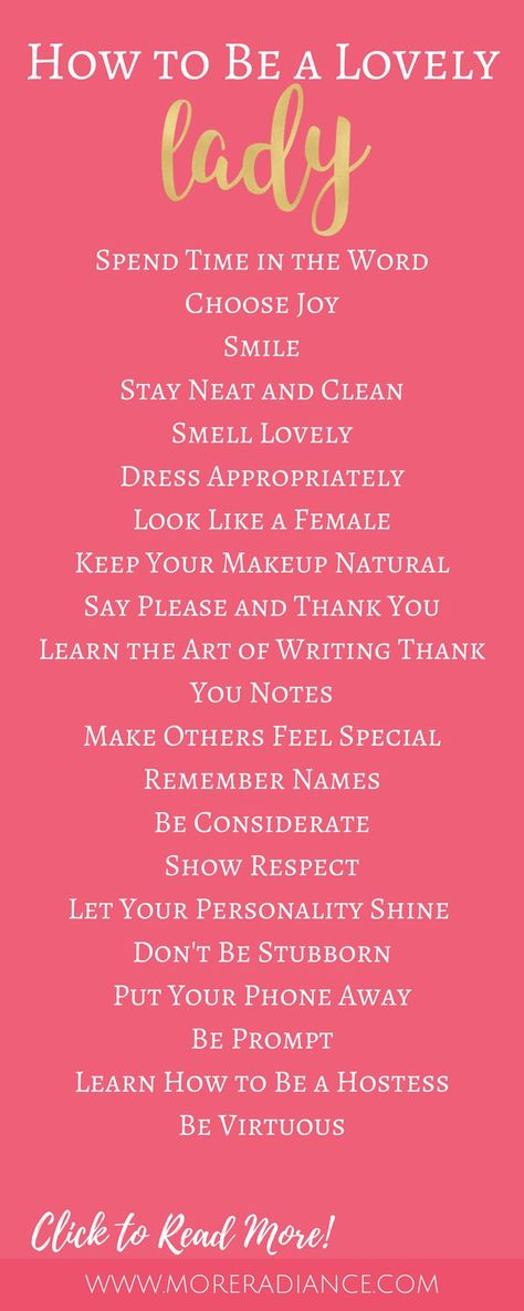 20 Ways to Be a Lovely Lady