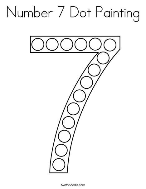 Number 7 Dot Painting Coloring Page Twisty Noodle Numbers