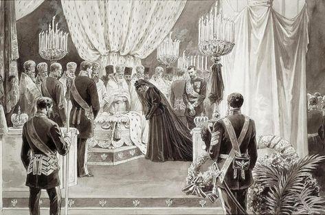 Kaiserin Maria Fjodorowna (1847-1928) am Sarkophag ihres am 1. November 1894 verstorbenen Gemahl, Kaiser Alexander III. Alexandrowitsch (1845-1894). Seine sterblichen Überreste wurden in der Peter-und-Paul-Festung in Skt. Petersburg beigesetzt.
