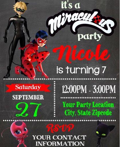 Miraculous Ladybug Chalkboard Birthday Party Invitations