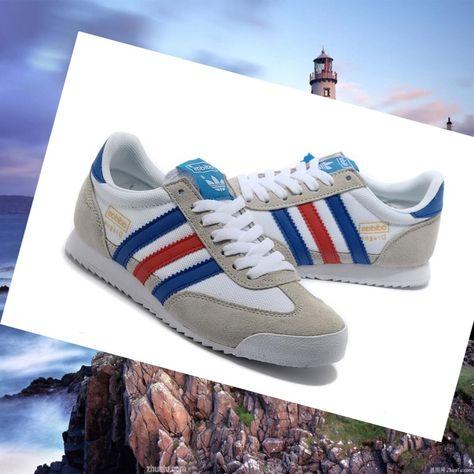 Women's Adidas Dragon Shoes Medium Gray/White/Royal-Blue/Dark-Red ...