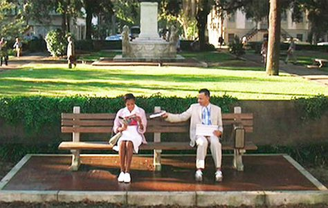 """Forrest Gump,"" Savannah, Ga. The Tom Hanks film is a virtual travelogue, having been shot around the U.S. However, some of the movie's most memorable scenes were largely filmed around Beaufort, S.C., while the most famous – where Forrest delivers his ""life is like a box of chocolates"" monologue – was shot on a bench on the north side of Chippewa Square in Savannah, Ga."