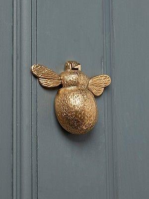 Vintage Gold Solid Brass Bumble Bee Door Knocker