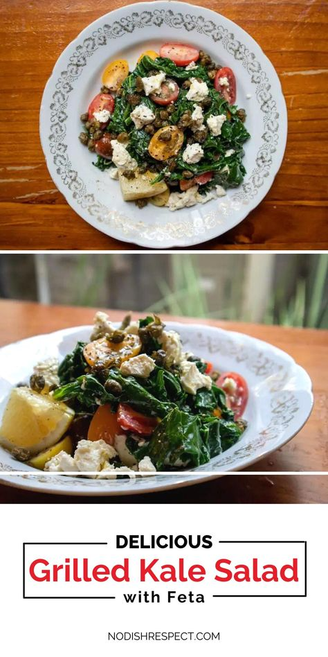 A rich and smoky salad with loads of flavour, this grilled kale salad is a delicious and healthy addition to your weekend! Grilled kale and feta cheese with sweet baby tomatoes and fried capers, what's not to love? #healthysalad #kalesalad #saladrecipes #healthyrecipes #asiansalad