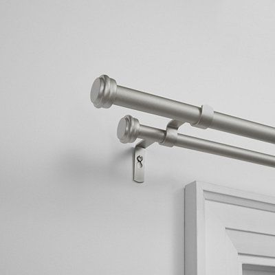 Matte Silver Topper Double Curtain Rod 120 In In 2020 With