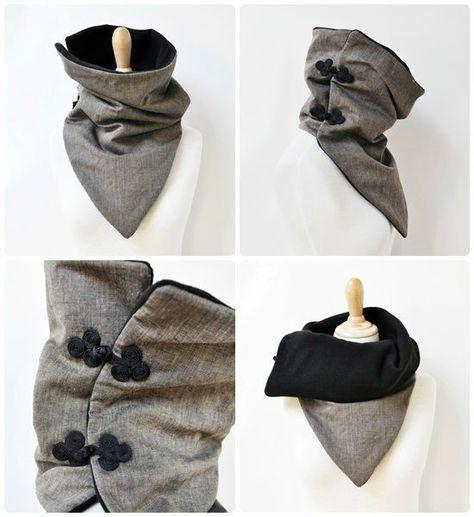 Col/écharpe façon chèche, en lin/coton, doublé polaire et boutons brandebourg qui lui donnent ce p'tit côté