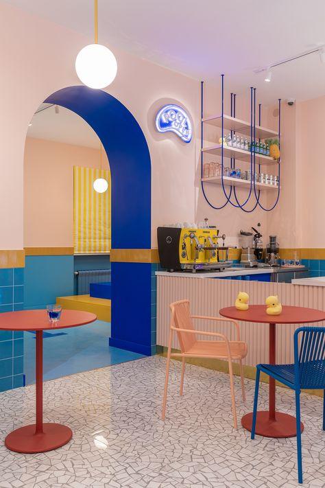 DYKE & DEAN | COLOURFUL CAFÉ Cafe Interior Design, Cafe Design, Store Design, Interior Decorating, House Design, Design Design, Colorful Cafe, Memphis Design, Store Interiors