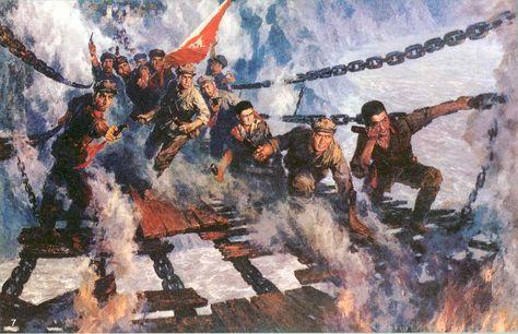 PLA troops crossing the Yangtse River, Long March