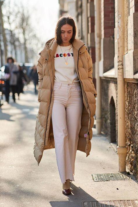 The Latest Street Style From Paris Fashion Week Fall 2018 - Women Puffer Jackets - Ideas of Women Puffer Jackets - Beige puffer coat