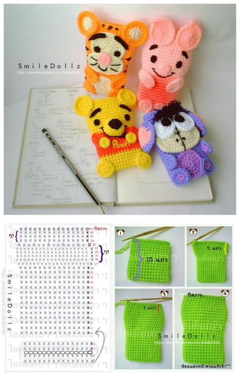 crochet Disney characters phone cases