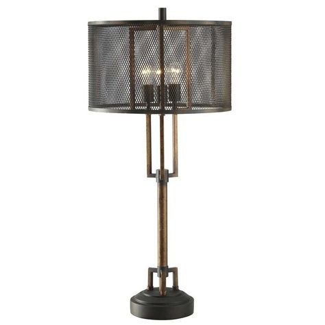 Winchester Metal Table Lamp With Wire Mesh Shade Metal Table Lamps Table Lamp Rustic Lamps