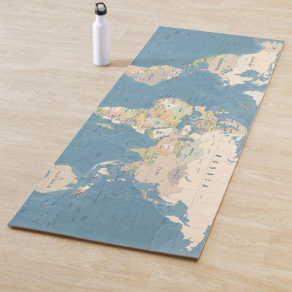 Colored World Map Pattern Yoga Mat Zazzle Com In 2020 Map Pattern Colorful Map Color World Map