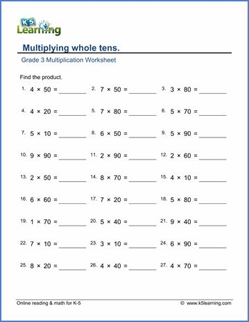 K5 Learning Grade 3 Third Grade Math Worksheets Division Worksheets Multiplication Worksheets