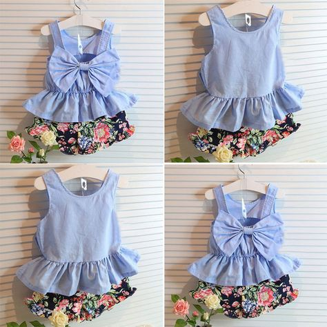 Toddler Kid Baby Girls Floral Bowknot Vest T Shirt+Shorts Pants Outfit Clothes