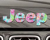 Lilly Jeep Emblem Decal!  Customizable to fit any jeep model! 50+ Pattern and Color Options! Etsy.com/Shop/DecalDesires