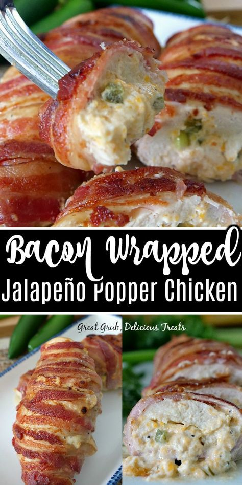 Bacon Wrapped Jalapeno Popper Chicken makes an easy and delicious dinner recipe, filled with a jalapeno cream cheese mixture then wrapped in bacon. Bacon Wrapped Jalapeno Poppers, Jalapeno Popper Chicken, Chicken Bacon, Jalapeno Stuffed Chicken, Cream Cheese Stuffed Chicken, Chicken Recipes With Cream Cheese, Cream Cheese Recipes Dinner, Bacon Wrapped Stuffed Chicken, Chicken Poppers