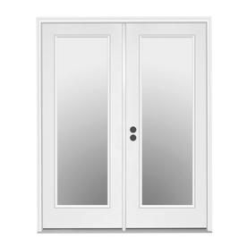 Jeld Wen Tempered Clear Glass Primed Steel Right Hand Inswing Prehung Double Door French Patio Door Common 60 In X 8 French Doors Patio Patio Doors Reliabilt