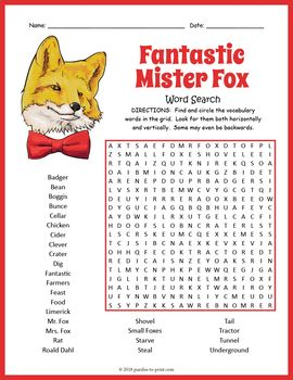 Fantastic Mr Fox Word Search Worksheet Fantastic Mr Fox Teach English To Kids Read Aloud Activities