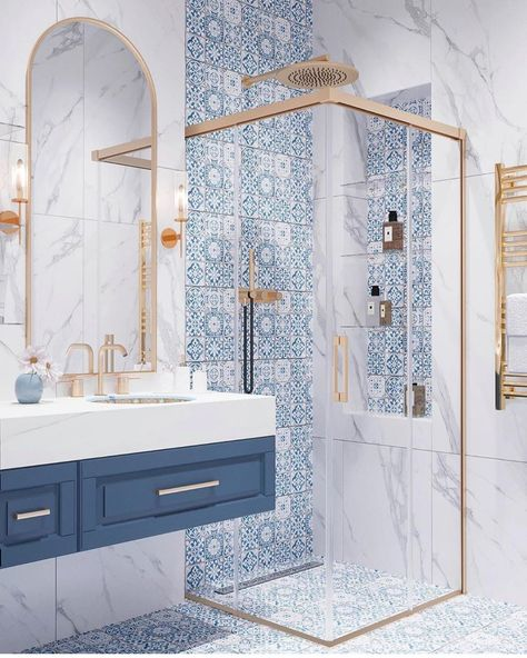 Home Interior Contemporary greek style blue and white bathroom with gold accents.Home Interior Contemporary greek style blue and white bathroom with gold accents Guest Bathrooms, Chic Bathrooms, 1950s Bathroom, Luxurious Bathrooms, Decorating Bathrooms, Decorating Kitchen, Dream Bathrooms, Bad Inspiration, Bathroom Inspiration