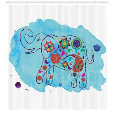 East Urban Home Elephant Shower Curtain Set Hooks Elephant
