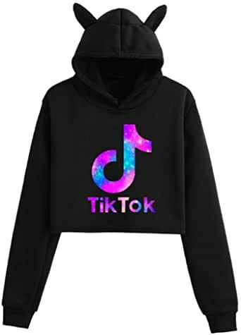 Hot TIK Tok Character Printing Youth Fashion Trend Loose Cute cat Ear Sweater Hoodie Girl Nine Points Sportswear Running Clothes