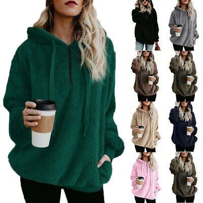 Women Winter Warm Fluffy Fur Sweatshirt Hoodie Jumper Cardigan Ladies Hooded Top