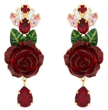 Red rose earrings with crystal drops