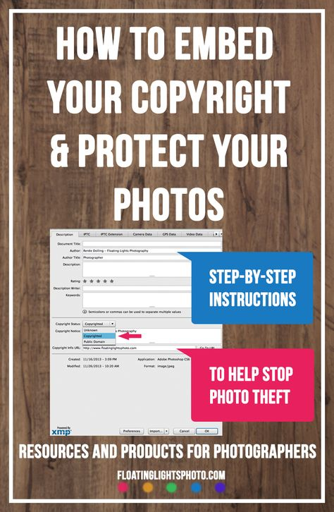 How To Embed Your Copyright Protect Your Photos | Floating Lights Photography | Photography Tips