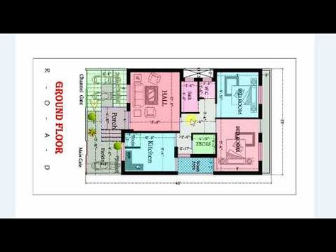 2 Bhk House Map In 23x40 Ft Size House Map 3d Home Design Porch Flooring