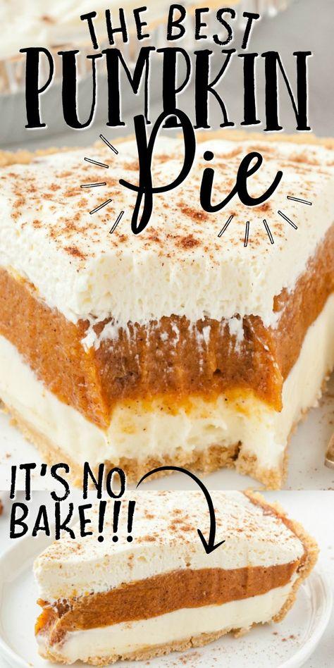 No Bake Pumpkin Pie, Baked Pumpkin, Pumpkin Pie Recipes, Pumpkin Dessert, Fall Recipes, Sweet Recipes, Holiday Recipes, Pumpkin Carving, Pumpkin Pie Recipe No Eggs