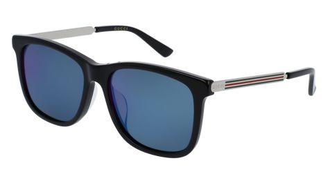 GUCCI GG0078SK RECTANGULAR / SQUARE Sunglasses For Men - 56-17-150 / GG0078SK-001 BLACK GOLD / BLUE SHINY