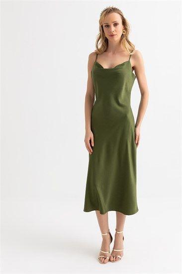 Askili Saten Elbise Haki Midi Elbise Elbiseler The Dress
