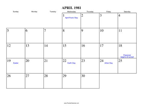 Easter 1981 Holidays In April 1981 Free Printable Calendar