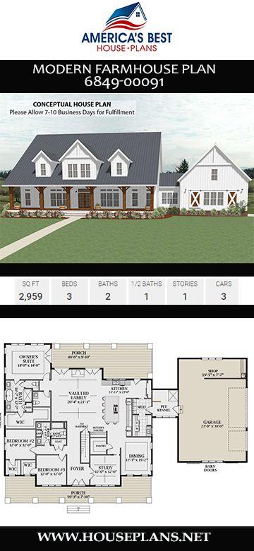 House Plan 6849 00091 Modern Farmhouse Plan 2 959 Square Feet 3 Bedrooms 2 5 Bathrooms Modern Farmhouse Plans House Plans Farmhouse Farmhouse Plans