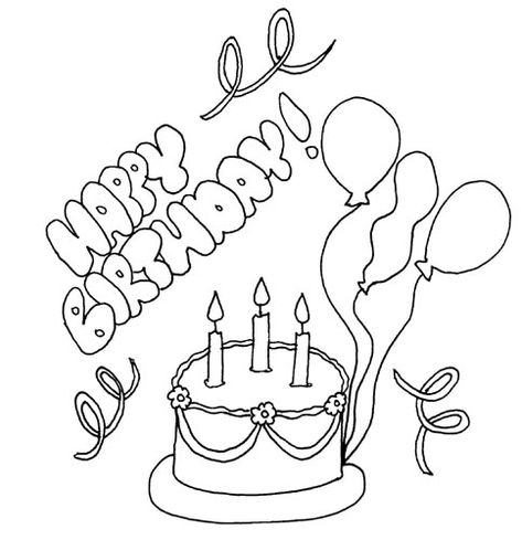 birthday cake and balloons coloring page coloring pages Puppy Cake valentines day disney coloring pages happy birthday coloring pages 25287 2529 coloring coloringbook