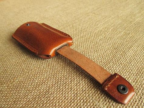Leather key holder with pull strap keychain key pouch | Etsy
