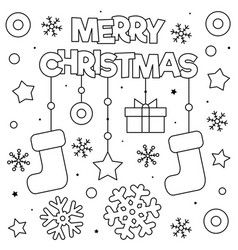Merry Christmas Coloring Page Black And White Vector Stitch Coloring Pages Kids Christmas Coloring Pages Merry Christmas Coloring Pages