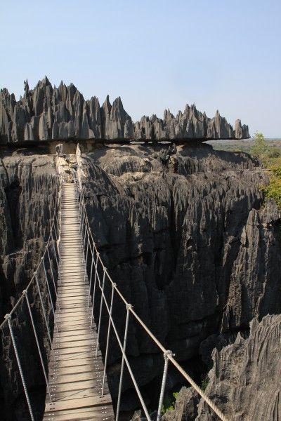 Tsingy de Bemaraha, Madagascar.    I walked this bridge in June!