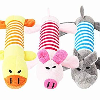 Pgooodp Dog Plush Toys Squeak Toys Cute Soft Colorful Dog Chew