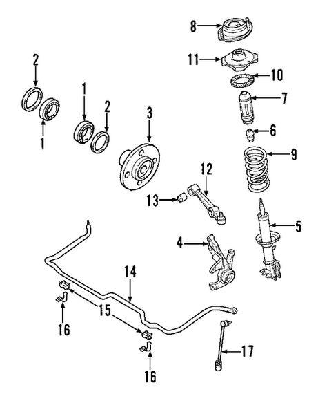 Front Suspension Suspension Components For 2003 Kia Rio 2