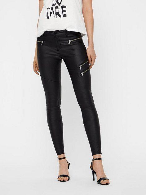 Herren Jeans Hose Coated Beschichtet Schwarz Regular Fit Big Size Übergröße