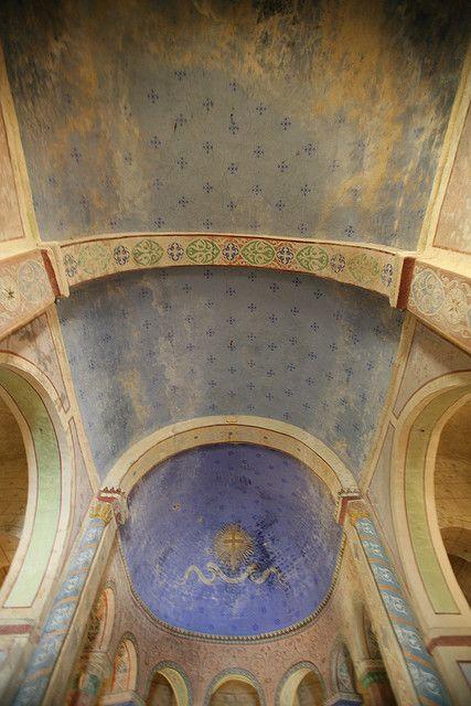 Blue ceiling Painted beams