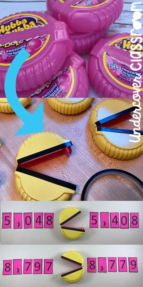 Transform some Hubba Bubba bubble tape containers into Pac Man number chompers! Use these as greater than, less than symbols to teach comparing numbers through place value. Math Classroom, Kindergarten Math, Teaching Math, Future Classroom, Teaching Ideas, Classroom Ideas, Preschool, Math Math, Guided Math