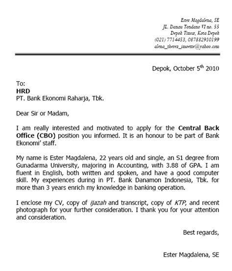 Contoh Surat Lamaran Kerja Administrasi Perkantoran Bahasa Inggris