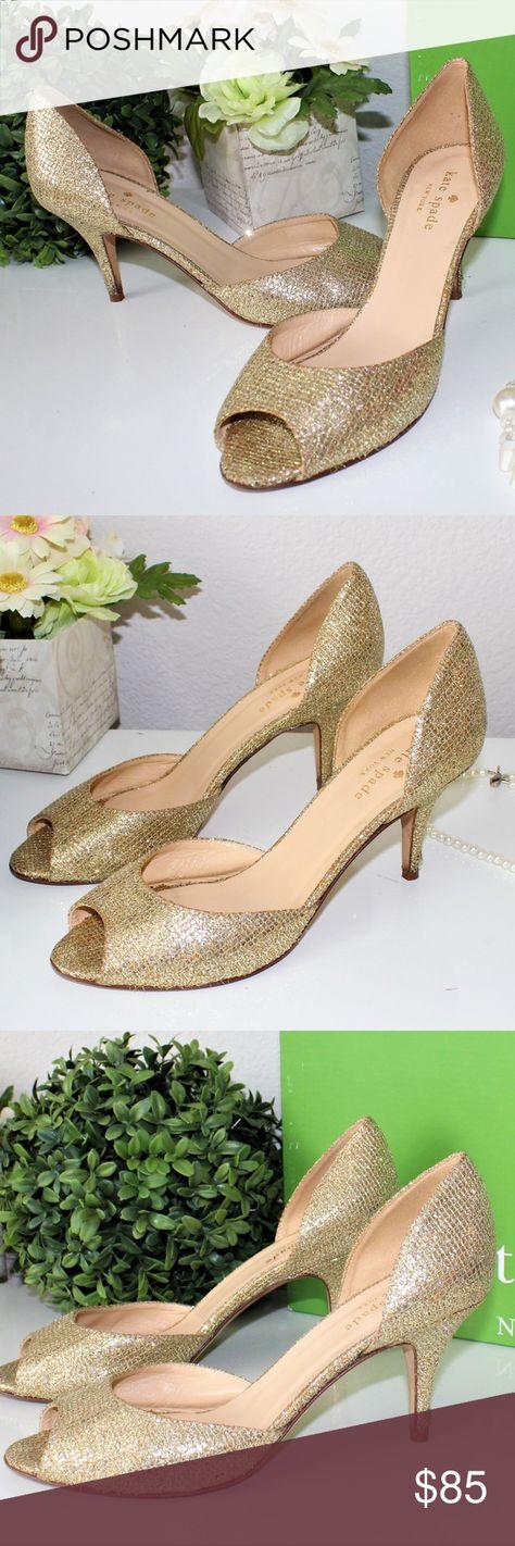 857cb6830927 Kate Spade Gold Sage Glitter Peep-Toe Heels kate spade new york pump in  starlight
