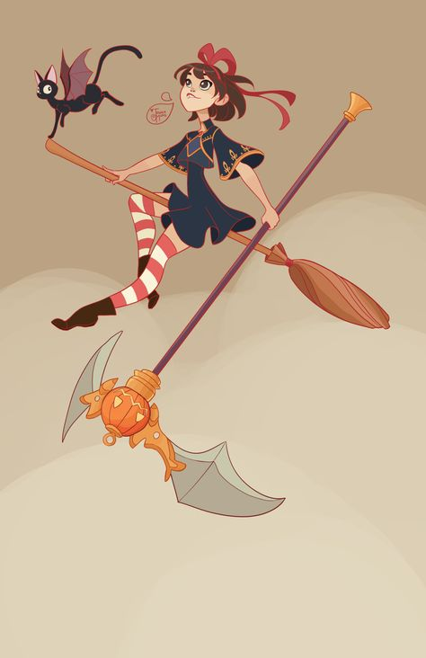 """Kiki 's Delivery Service - Kiki and Jiji :)  A """"Halloweenified (not a real word)"""" version of them…of course ;P"""