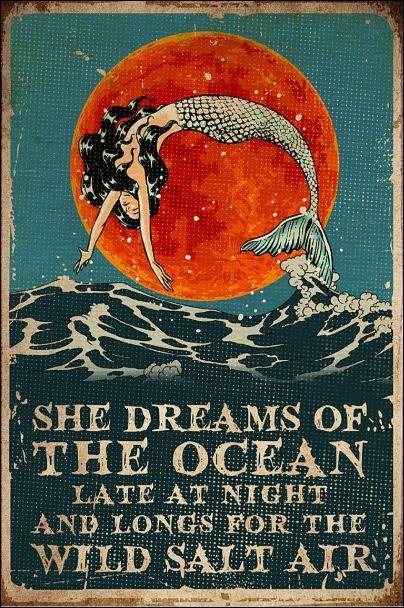 She dreams of the ocean late at night and longs for wild salt air poster Yoga Studio Design, Foto Fantasy, Fantasy Art, Mermaids And Mermen, Wow Art, Mermaid Art, Artsy Fartsy, Illustration Art, Illustrations